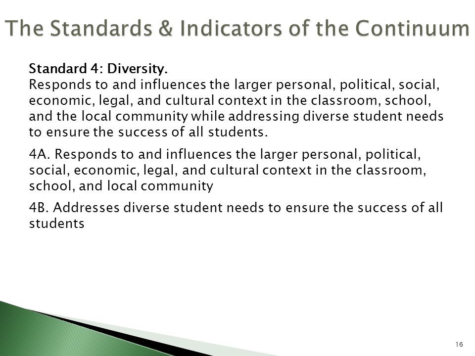 Standard 4: Diversity. Responds to and influences the larger personal, political, social, economic, legal, and cultural context in the classroom, scho