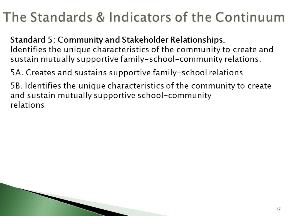 Standard 5: Community and Stakeholder Relationships. Identifies the unique characteristics of the community to create and sustain mutually supportive