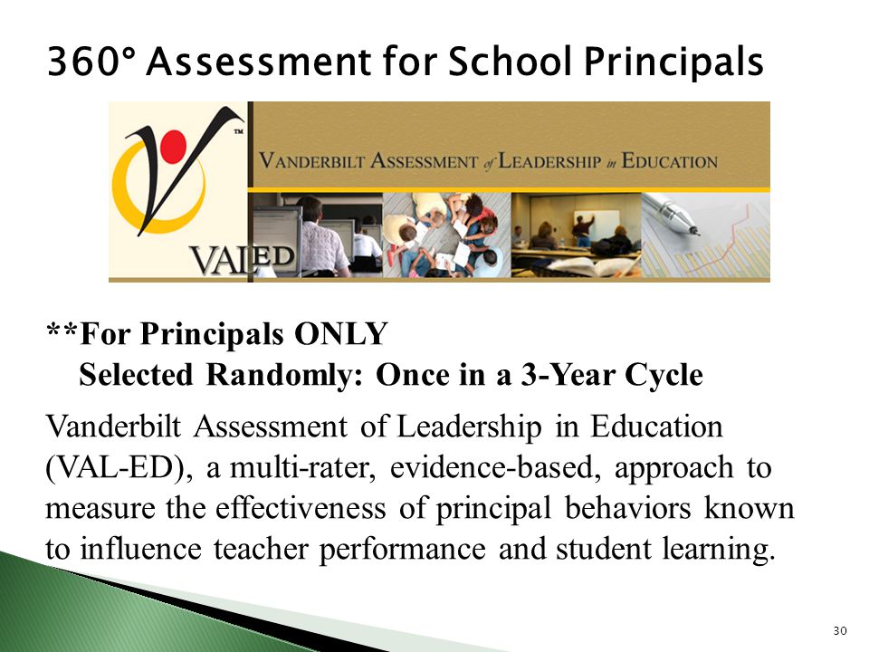 360 ° Assessment for School Principals **For Principals ONLY Selected Randomly: Once in a 3-Year Cycle Vanderbilt Assessment of Leadership in Educatio
