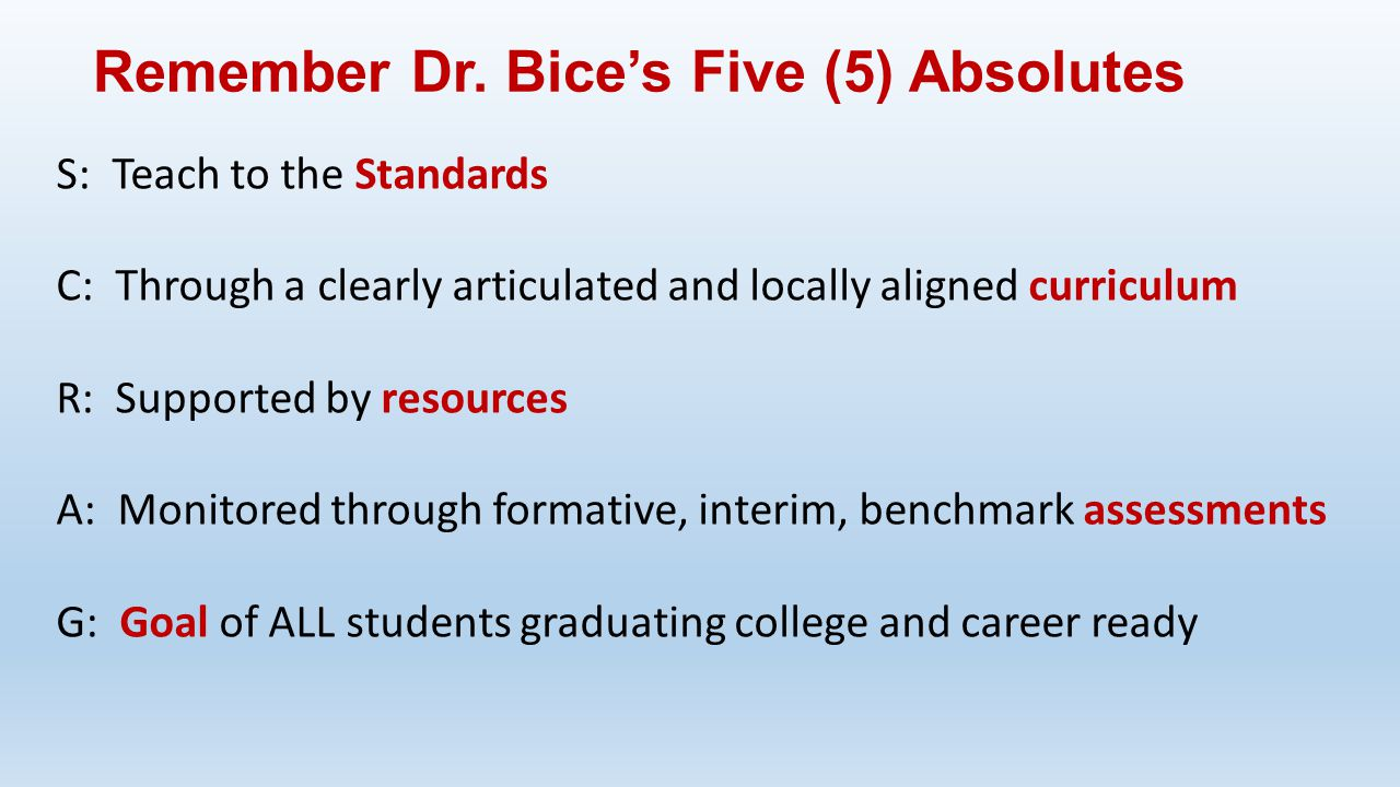 S: Teach to the Standards C: Through a clearly articulated and locally aligned curriculum R: Supported by resources A: Monitored through formative, in