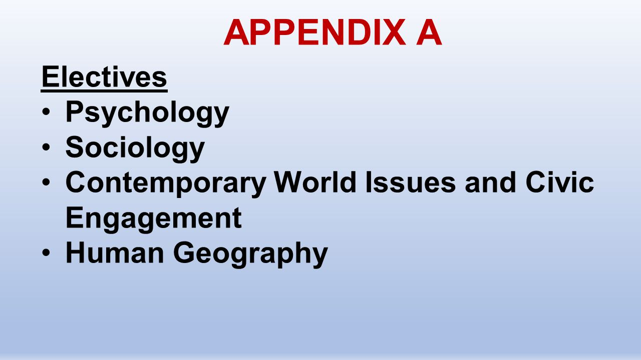 APPENDIX A Electives Psychology Sociology Contemporary World Issues and Civic Engagement Human Geography