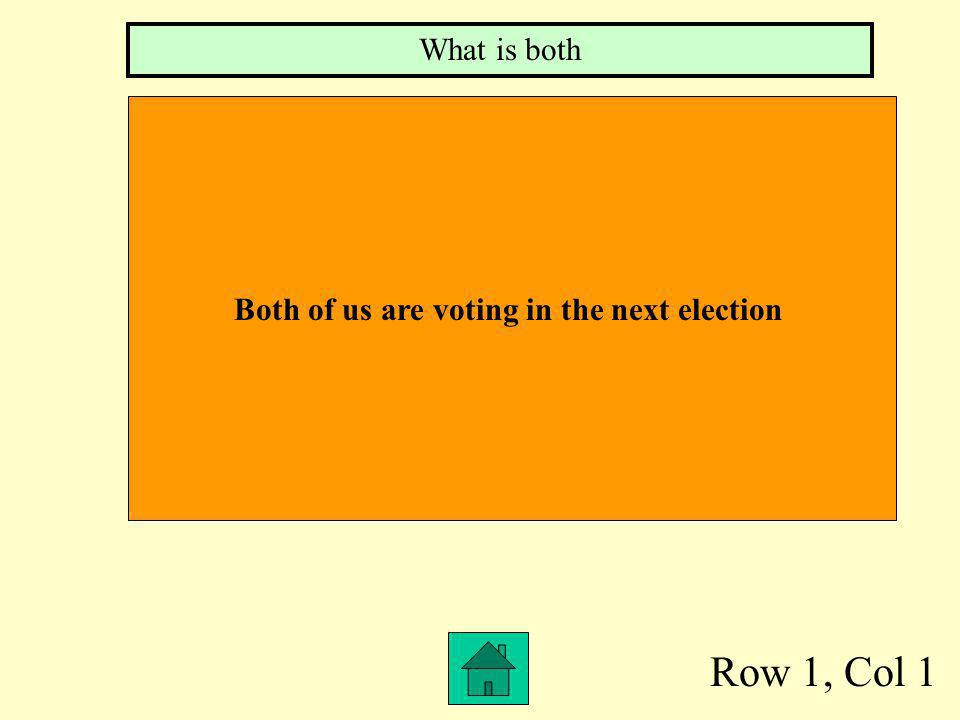 Row 1, Col 1 What is both Both of us are voting in the next election