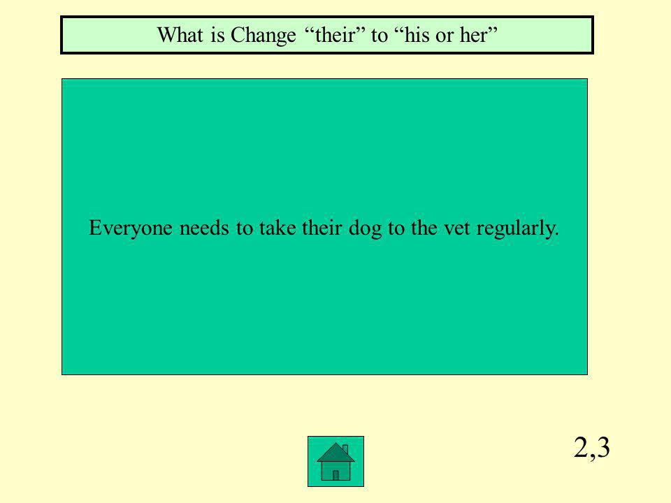 2,3 Everyone needs to take their dog to the vet regularly. What is Change their to his or her