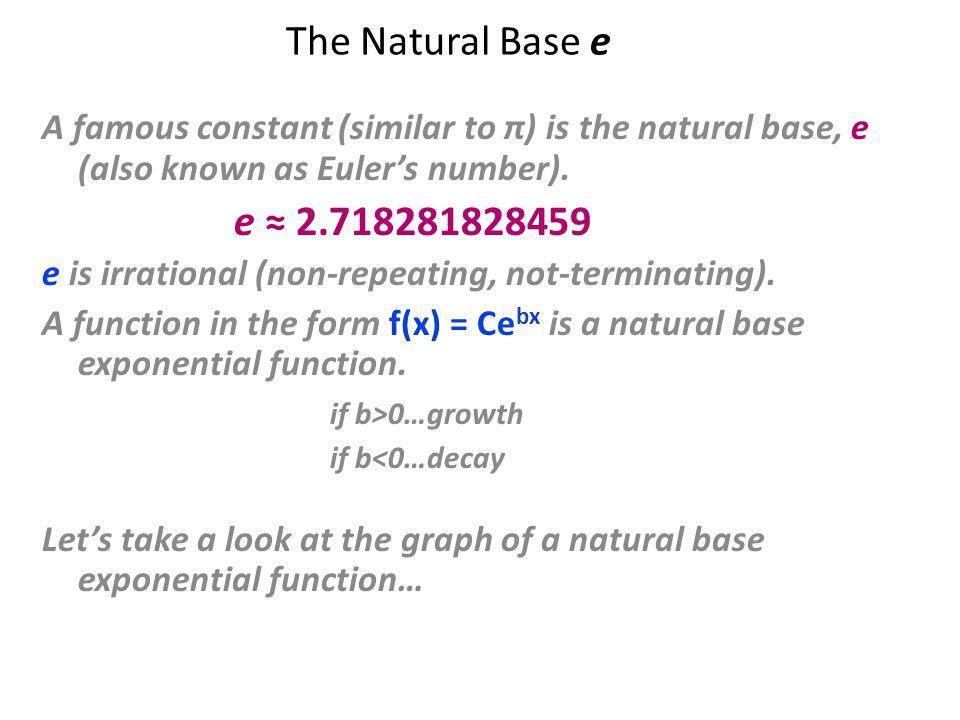 Ex. Graph f(x) = e x x f(x) –2 -1.5 -1 -0.5 0 0.5 1 1.5 2