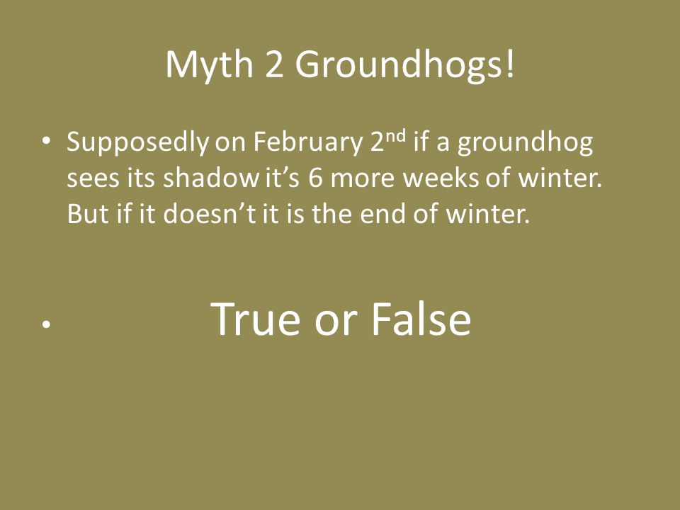 Myth 2 Groundhogs.