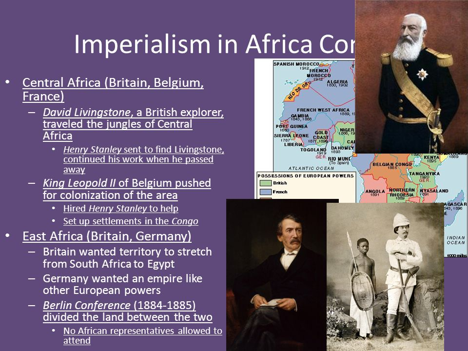 Imperialism in Africa Cont'd South Africa – Boers were original Dutch settlers – British seized lands during Napoleonic Wars, invited citizens (1880-1881) – Boers, sick of British rule, move to area above Vaal River Put the indigenous, or native, peoples on reservations – Boers constantly fighting native groups Boer Wars – First was 1880-1881 – Second (1899-1902) saw British take Boer lands – Cecil Rhodes, in charge of British South Africa, wants Boer lands because of diamonds and gold – To make Boers happy British allow limited self government and only whites and few blacks with property could vote