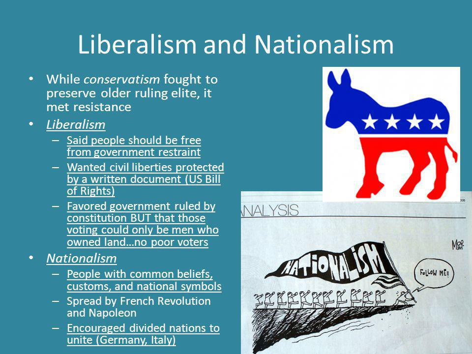 Liberalism and Nationalism While conservatism fought to preserve older ruling elite, it met resistance Liberalism – Said people should be free from government restraint – Wanted civil liberties protected by a written document (US Bill of Rights) – Favored government ruled by constitution BUT that those voting could only be men who owned land…no poor voters Nationalism – People with common beliefs, customs, and national symbols – Spread by French Revolution and Napoleon – Encouraged divided nations to unite (Germany, Italy)