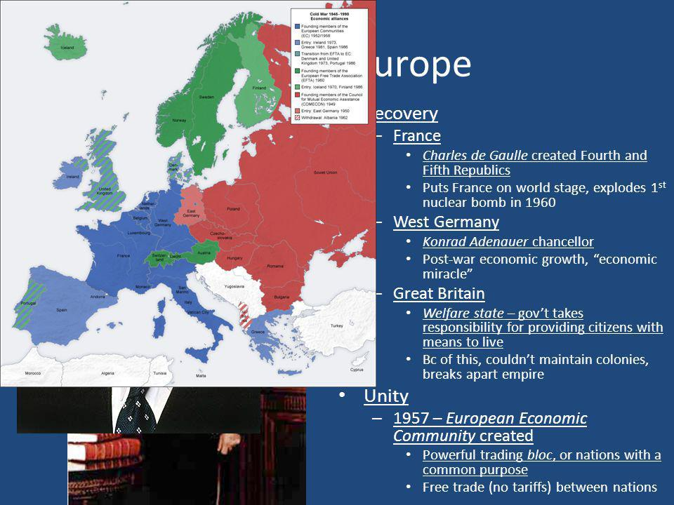 Western Europe Recovery – France Charles de Gaulle created Fourth and Fifth Republics Puts France on world stage, explodes 1 st nuclear bomb in 1960 –