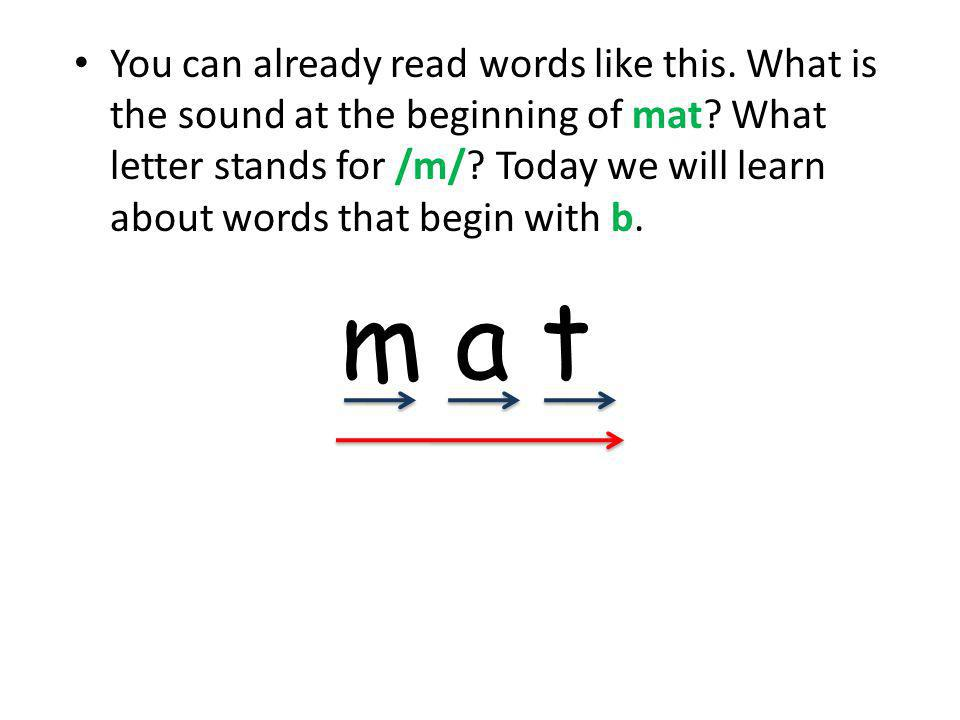 You can already read words like this. What is the sound at the beginning of mat.
