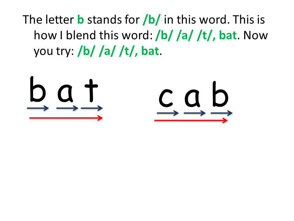 The letter b stands for /b/ in this word. This is how I blend this word: /b/ /a/ /t/, bat.