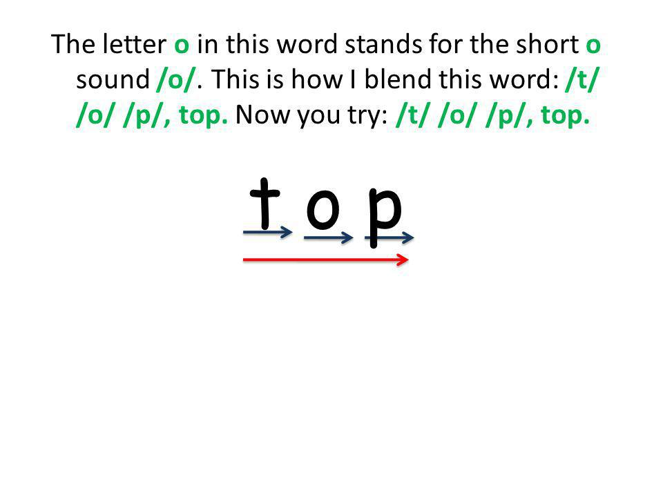 The letter o in this word stands for the short o sound /o/.