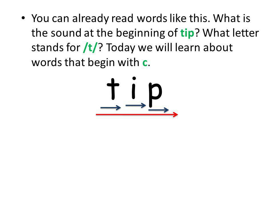You can already read words like this. What is the sound at the beginning of tip.