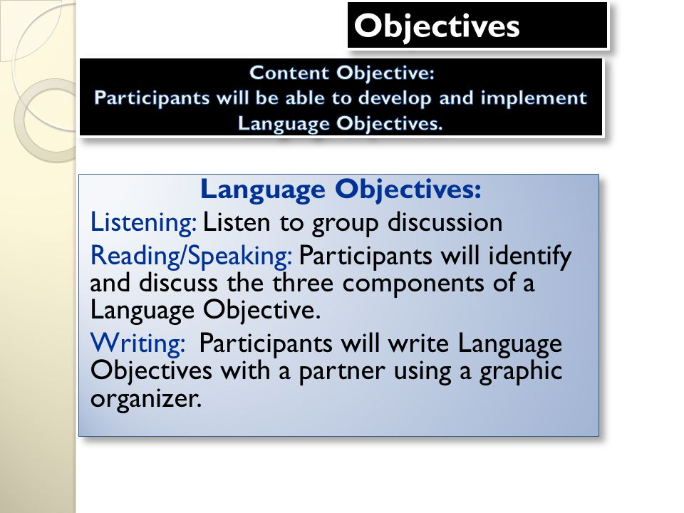 Language Objectives: Listening: Listen to group discussion Reading/Speaking: Participants will identify and discuss the three components of a Language Objective.