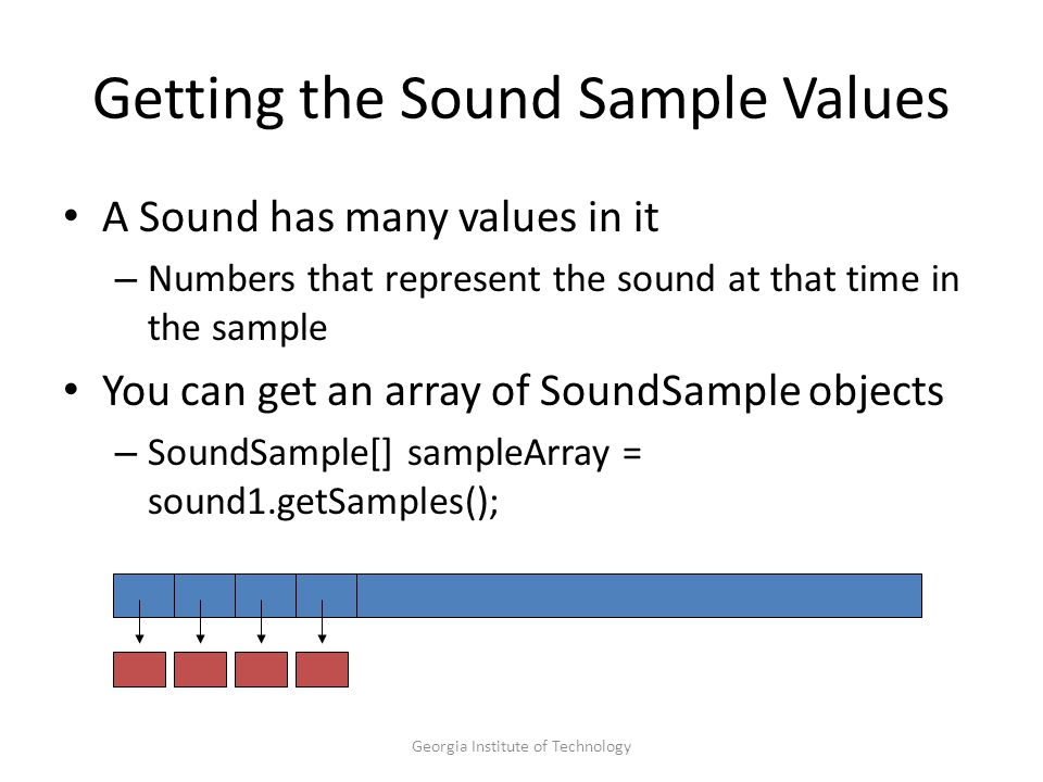 Georgia Institute of Technology Getting the Sound Sample Values A Sound has many values in it – Numbers that represent the sound at that time in the sample You can get an array of SoundSample objects – SoundSample[] sampleArray = sound1.getSamples();