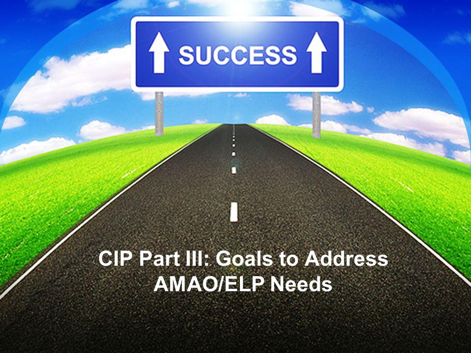 CIP Part III: Goals to Address AMAO/ELP Needs