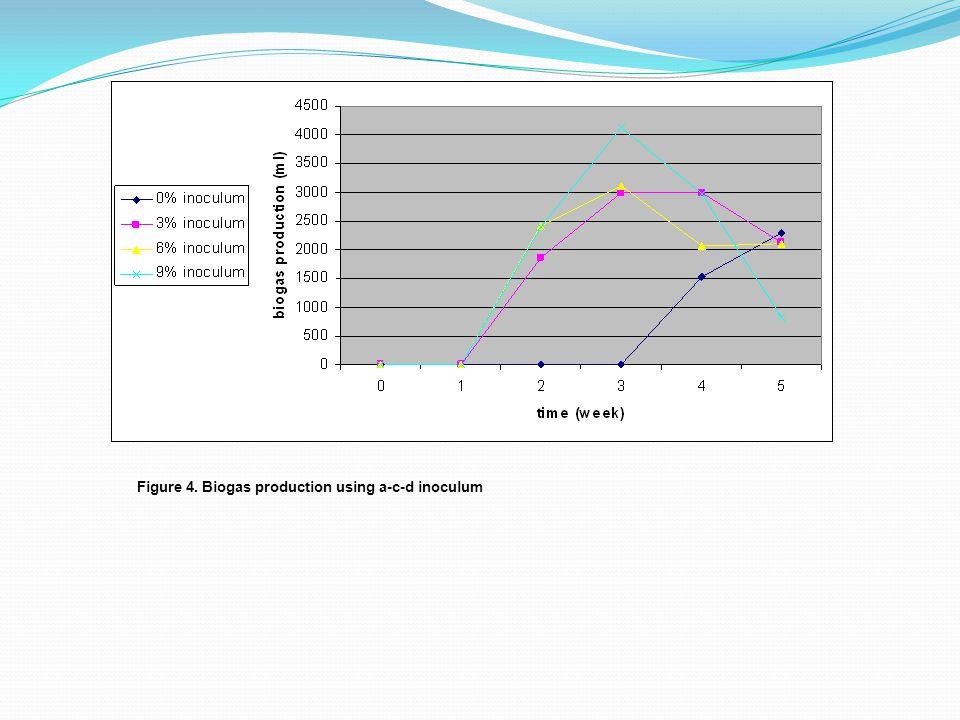 Figure 4. Biogas production using a-c-d inoculum