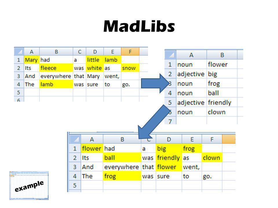 MadLibs example