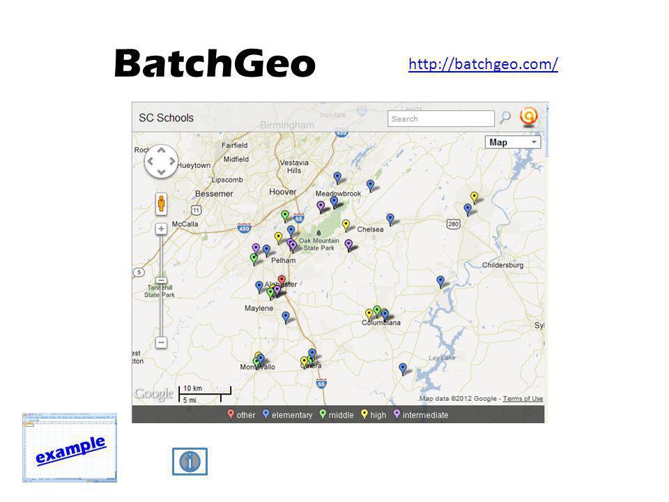 BatchGeo example http://batchgeo.com/