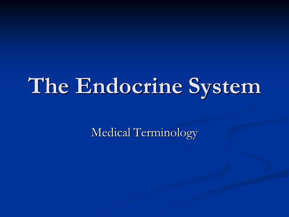 The Endocrine System Medical Terminology