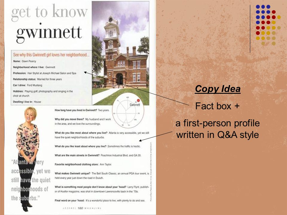 Copy Idea Fact box + a first-person profile written in Q&A style