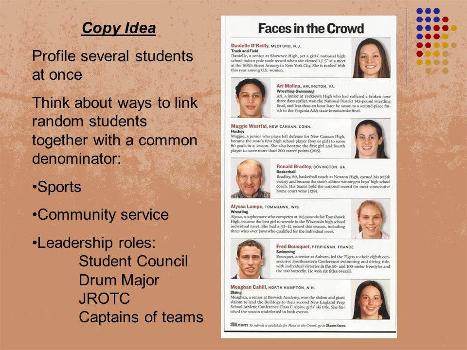 Copy Idea Profile several students at once Think about ways to link random students together with a common denominator: Sports Community service Leadership roles: Student Council Drum Major JROTC Captains of teams