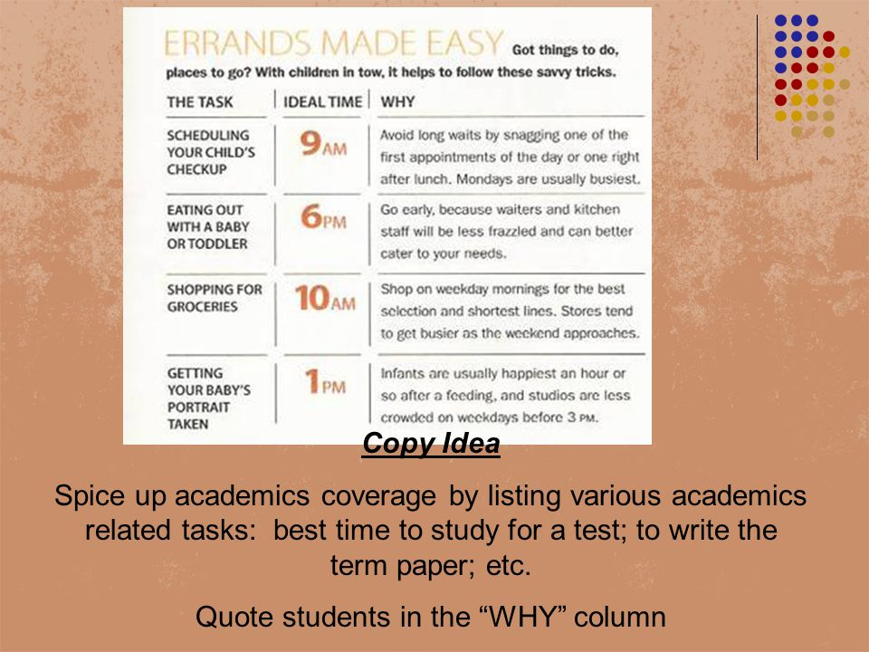 Copy Idea Spice up academics coverage by listing various academics related tasks: best time to study for a test; to write the term paper; etc.