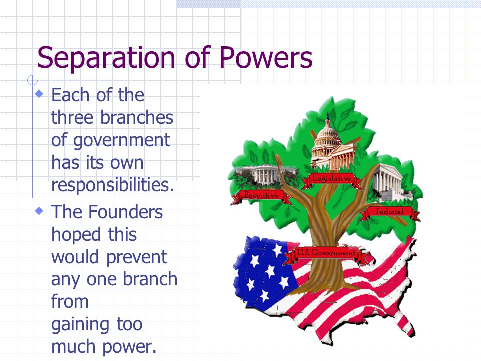 Separation of Powers  Each of the three branches of government has its own responsibilities.  The Founders hoped this would prevent any one branch f
