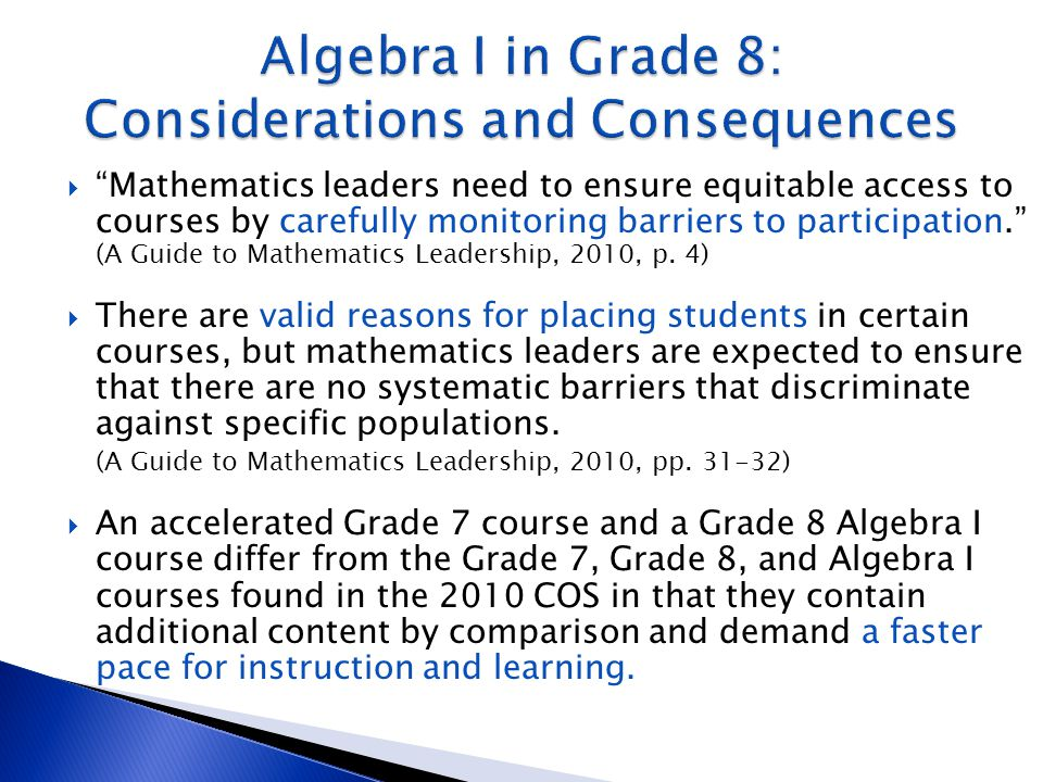 """ """"Mathematics leaders need to ensure equitable access to courses by carefully monitoring barriers to participation."""" (A Guide to Mathematics Leadersh"""