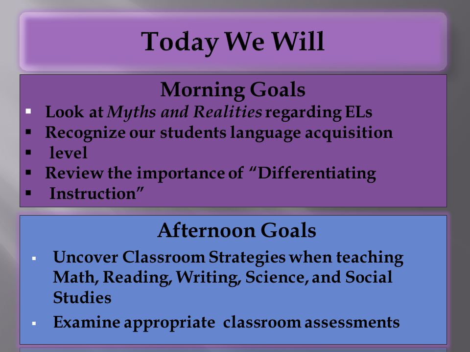 "Morning Goals  Look at Myths and Realities regarding ELs  Recognize our students language acquisition  level  Review the importance of ""Differenti"