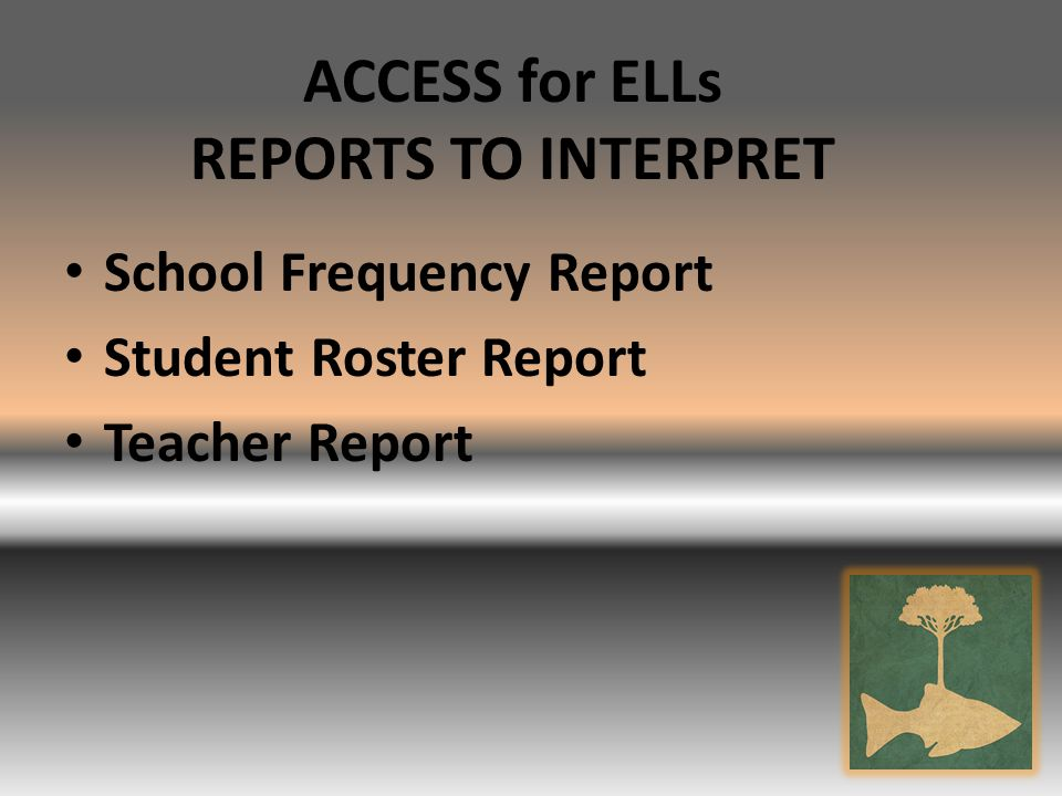 ACCESS for ELLs REPORTS TO INTERPRET School Frequency Report Student Roster Report Teacher Report