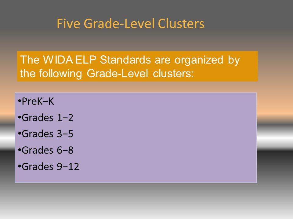 Five Grade-Level Clusters PreK−K Grades 1−2 Grades 3−5 Grades 6−8 Grades 9−12 The WIDA ELP Standards are organized by the following Grade-Level clusters: