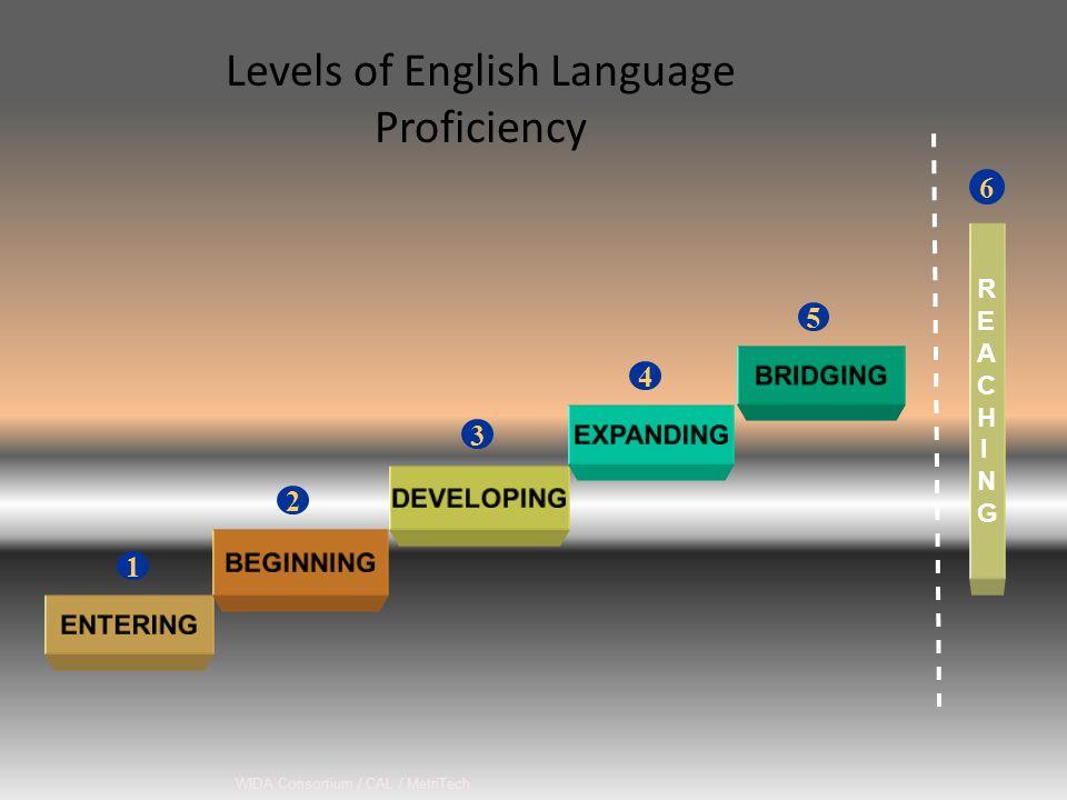 WIDA Consortium / CAL / MetriTech Levels of English Language Proficiency 6 1 2 3 4 5 REACHINGREACHING
