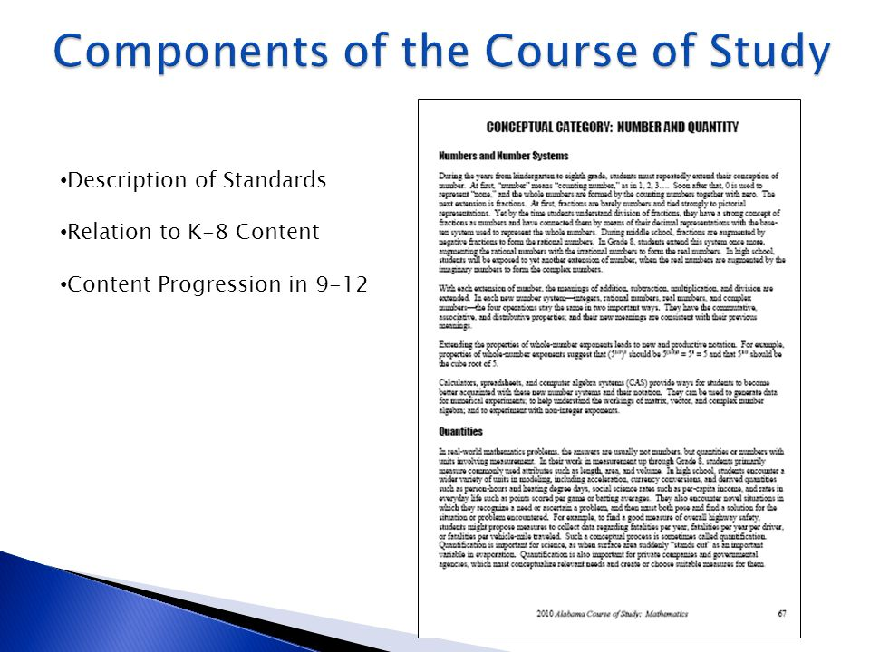 Description of Standards Relation to K-8 Content Content Progression in 9-12