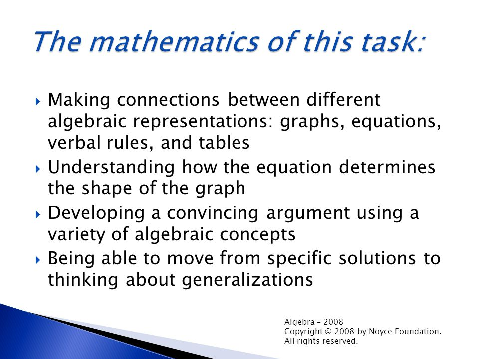  Making connections between different algebraic representations: graphs, equations, verbal rules, and tables  Understanding how the equation determines the shape of the graph  Developing a convincing argument using a variety of algebraic concepts  Being able to move from specific solutions to thinking about generalizations Algebra – 2008 Copyright © 2008 by Noyce Foundation.