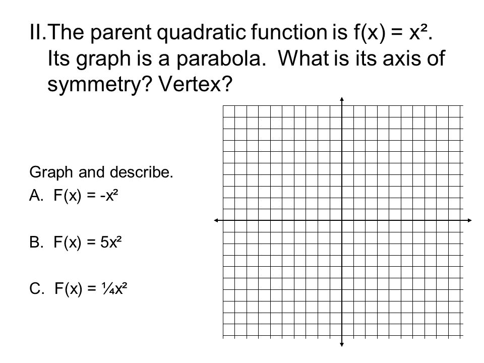 II.The parent quadratic function is f(x) = x². Its graph is a parabola. What is its axis of symmetry? Vertex? Graph and describe. A.F(x) = -x² B.F(x)