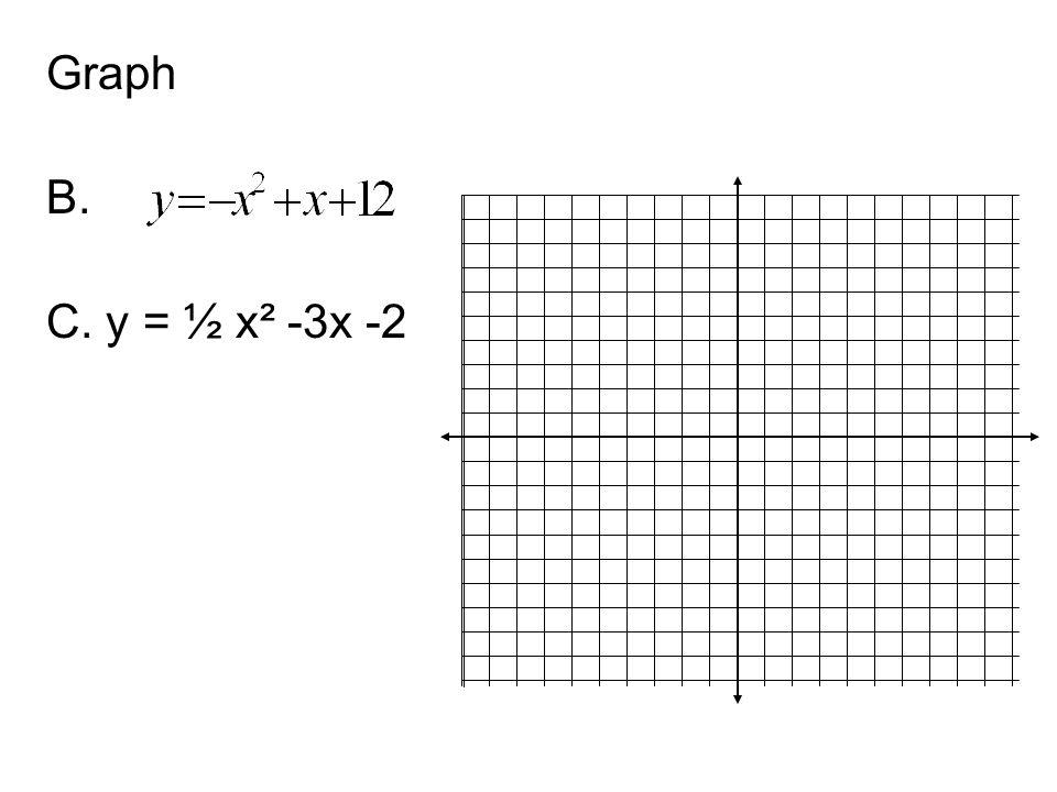 Graph B. C. y = ½ x² -3x -2