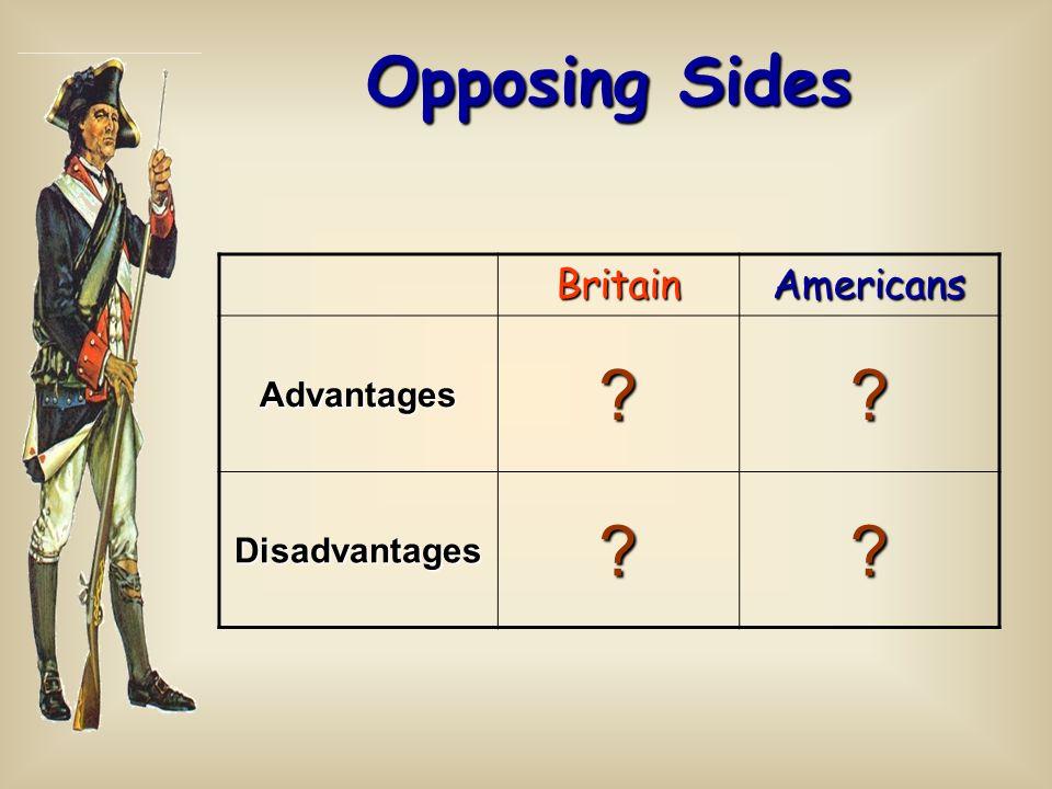BritainAmericans Advantages?? Disadvantages?? Opposing Sides
