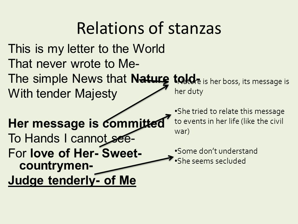 Relations of stanzas This is my letter to the World That never wrote to Me- The simple News that Nature told- With tender Majesty Her message is committed To Hands I cannot see- For love of Her- Sweet- countrymen- Judge tenderly- of Me Nature is her boss, its message is her duty She tried to relate this message to events in her life (like the civil war) Some don't understand She seems secluded
