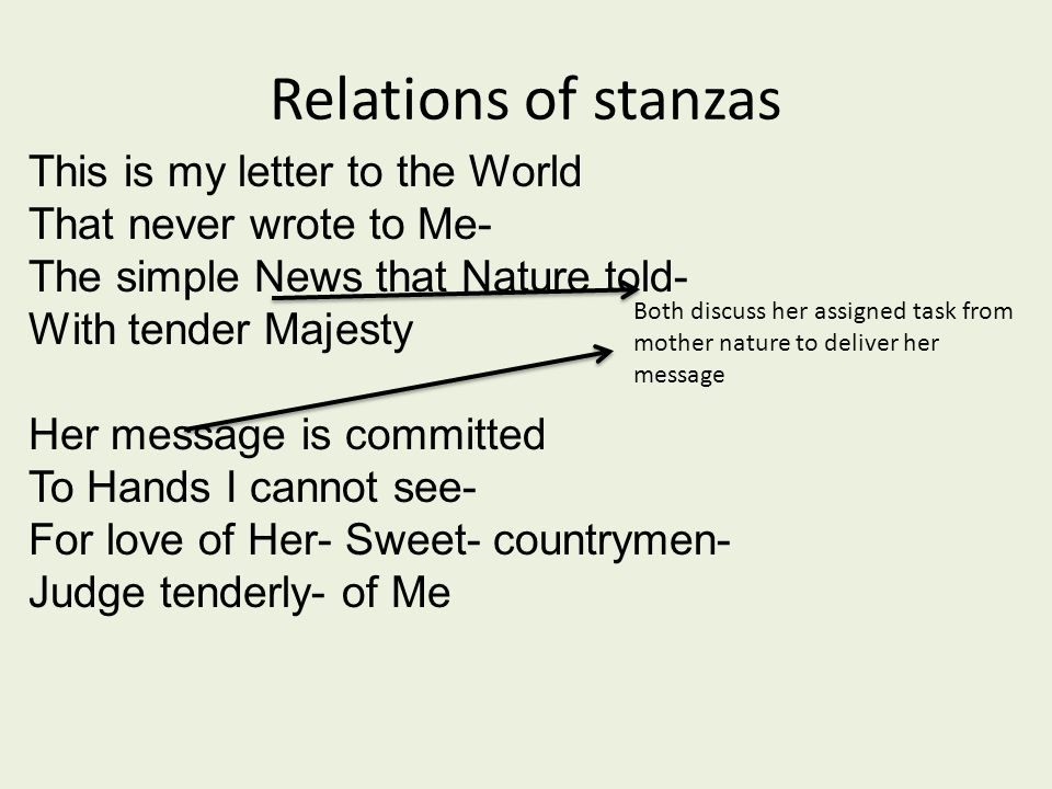 Relations of stanzas This is my letter to the World That never wrote to Me- The simple News that Nature told- With tender Majesty Her message is committed To Hands I cannot see- For love of Her- Sweet- countrymen- Judge tenderly- of Me Both discuss her assigned task from mother nature to deliver her message