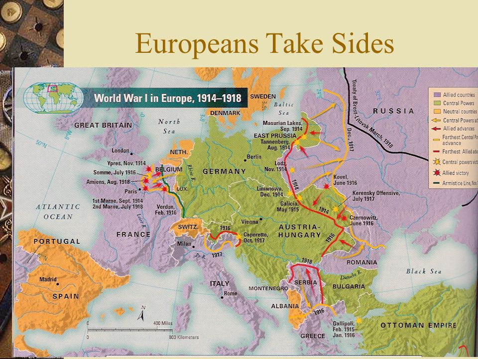 Europeans Take Sides  By mid-August 1914, the battle lines were clearly drawn.  Central Powers – Germany, Austria- Hungary, Bulgaria, and the Ottoma