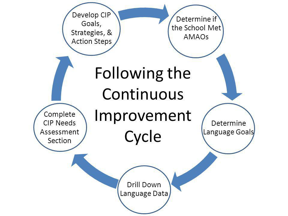 Determine if the School Met AMAOs Determine Language Goals Drill Down Language Data Complete CIP Needs Assessment Section Develop CIP Goals, Strategies, & Action Steps Following the Continuous Improvement Cycle