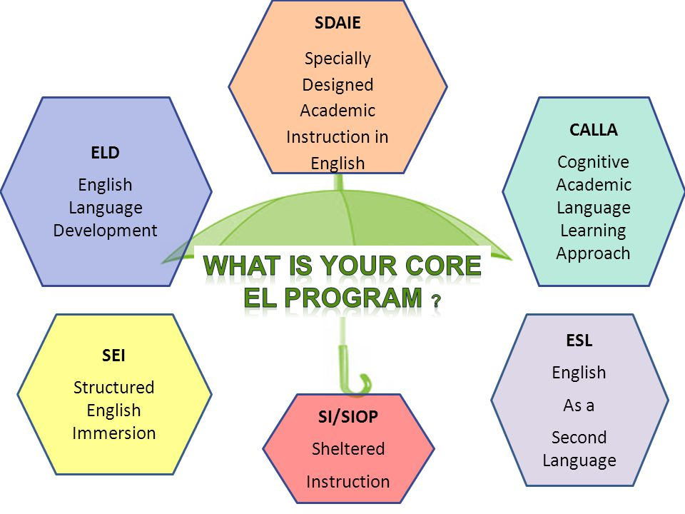 SDAIE Specially Designed Academic Instruction in English ELD English Language Development CALLA Cognitive Academic Language Learning Approach SEI Structured English Immersion SI/SIOP Sheltered Instruction ESL English As a Second Language