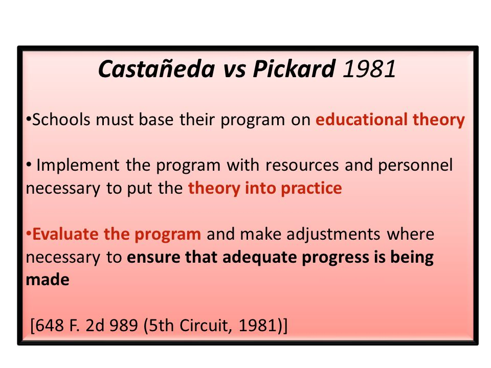 Castañeda vs Pickard 1981 Schools must base their program on educational theory Implement the program with resources and personnel necessary to put the theory into practice Evaluate the program and make adjustments where necessary to ensure that adequate progress is being made [648 F.