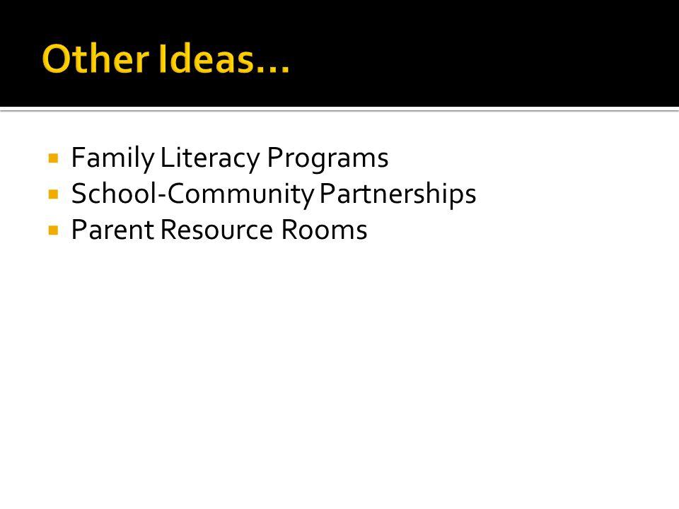  Family Literacy Programs  School-Community Partnerships  Parent Resource Rooms