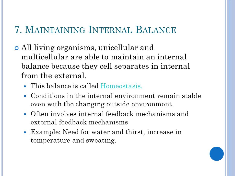 7. M AINTAINING I NTERNAL B ALANCE All living organisms, unicellular and multicellular are able to maintain an internal balance because they cell sepa