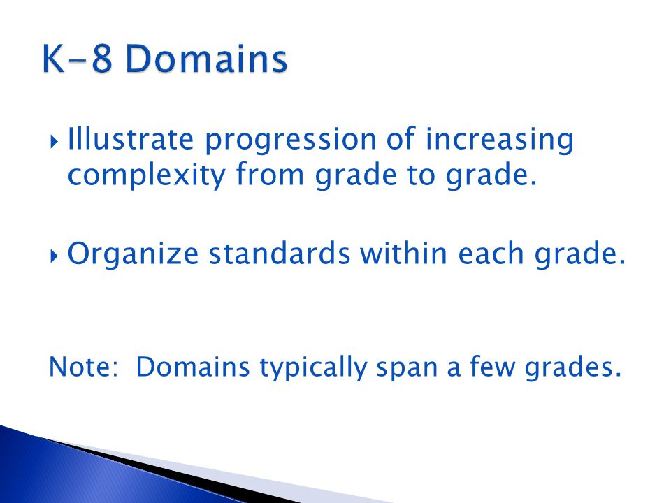  Illustrate progression of increasing complexity from grade to grade.