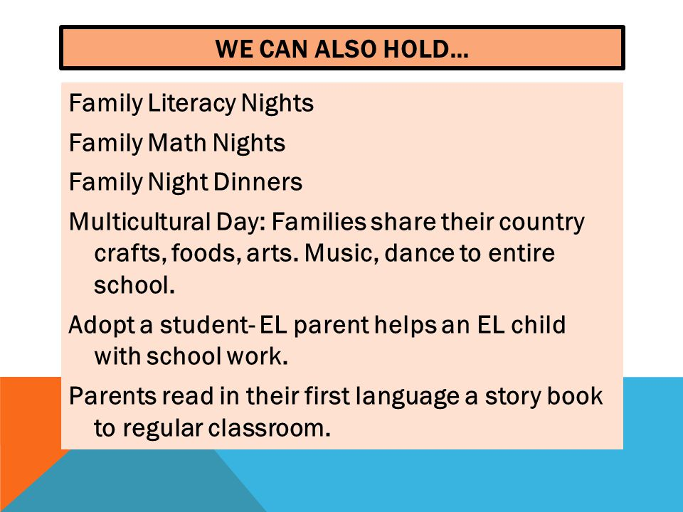 WE CAN ALSO HOLD… Family Literacy Nights Family Math Nights Family Night Dinners Multicultural Day: Families share their country crafts, foods, arts.