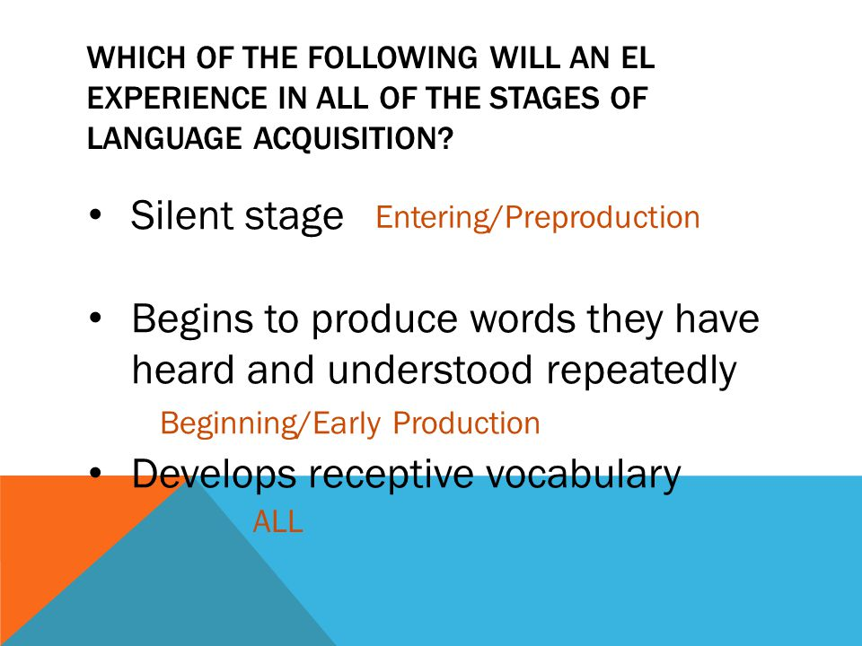 WHICH OF THE FOLLOWING WILL AN EL EXPERIENCE IN ALL OF THE STAGES OF LANGUAGE ACQUISITION? Silent stage Begins to produce words they have heard and un