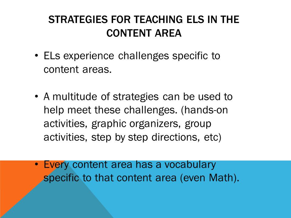 IDEAS FOR ASSESSING ELS Entering/BeginningAdvanced Beginners-Intermediate Yes/no or single word responses Pointing/gesturing cloze activities Hands-on tasks Class projects Group work Portfolios KWL charts Role playing Completion of graphic organizers Simplified study guides Limit assessment to key vocabulary of concepts Allow students use of notes or texts.