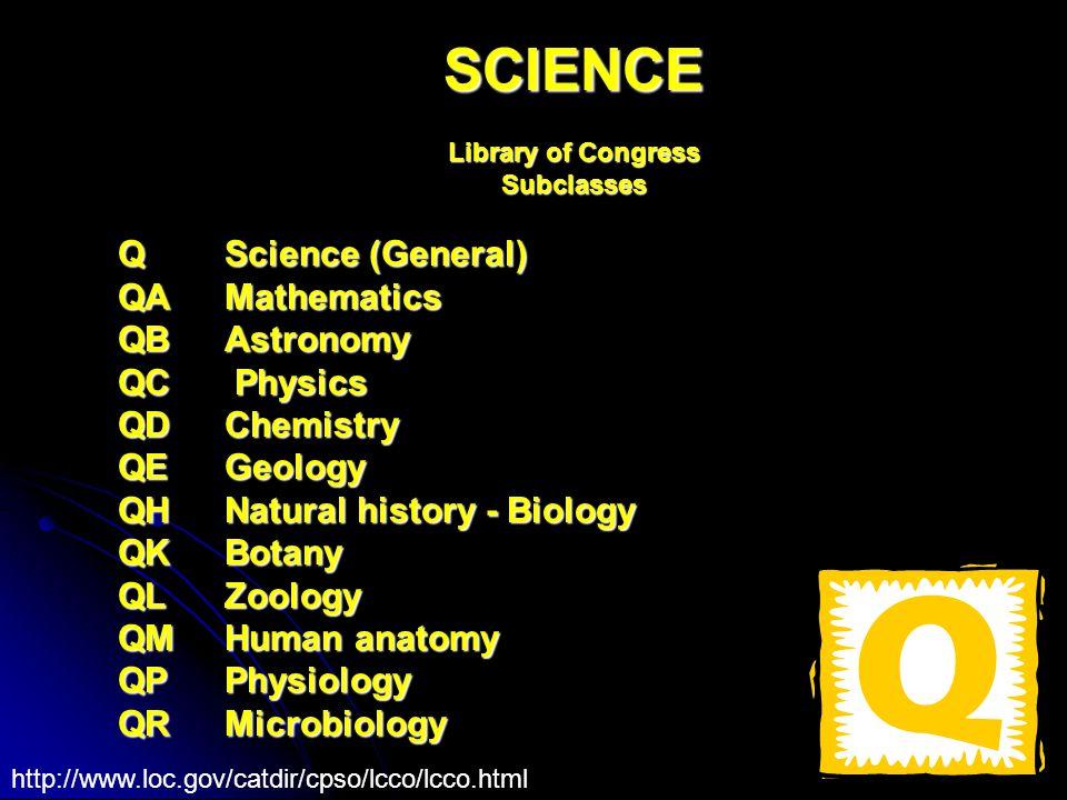 SCIENCE Library of Congress Subclasses Q Science (General) QA Mathematics QB Astronomy QC Physics QD Chemistry QE Geology QH Natural history - Biology